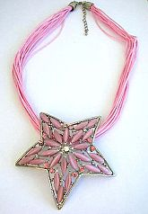 Cat's eyes fashion jewelry wholesale Multi strings fashion necklace with star shape and long pinky c