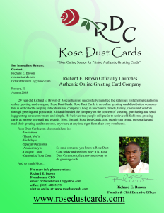 Rose Dust Cards Official Press Release