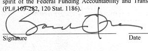Obama Signature Signed by Autopen