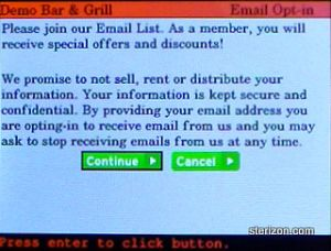 Email Club Enrollment Step 1 in Sterizon wiZit Handheld