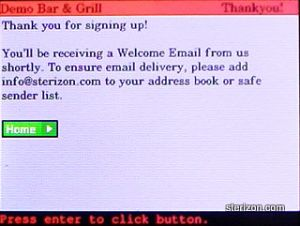Email Club Enrollment Step 4 in Sterizon wiZit Handheld