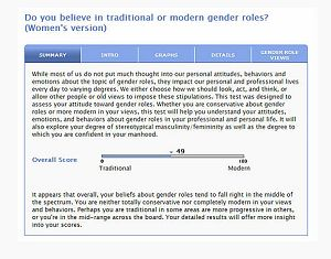 Sample of the Gender Roles test report