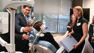Dr. Perera performs TMS on Carole Wilder-Tamme