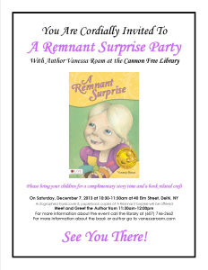 """Author Vanessa Roam Event """"A Remnant Surprise Party"""" Flier, Cannon Free Library, NY"""
