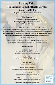 Event Poster - Bearing Faith: The Limits of Catholic Health Care for Women of Color