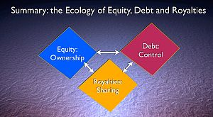 Ecology of Equity, Debt and Royalties
