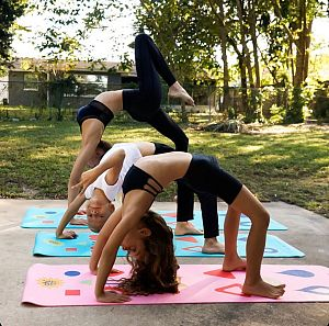 Yoga Mom & Kids playing Chi Universe Yoga Game