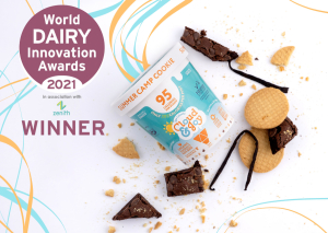 Photo of the World Dairy Innovation Awards Badge with Product