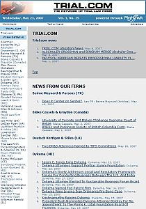 Trial.com Firm News - May 23, 2007 (partial view)