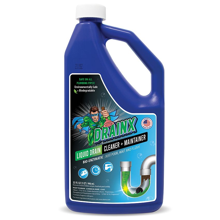 Drainx Drain Cleaner and Maintainer Solution, 1 Quart, 32 fl oz (Made in USA)