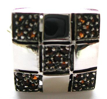 Bali jewelry silver catalog presenting sterling silver ring with multi mini red cz stone embedded