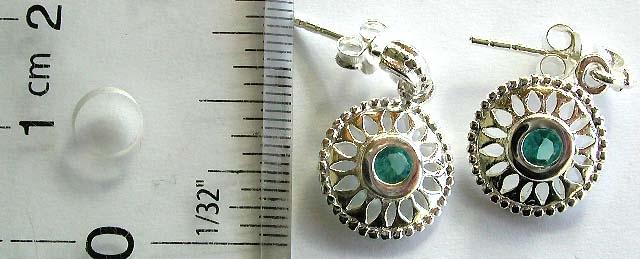 Earring manufacturer supplier online wholesale wheel pattern cz blue topaz sterling silver jewellery