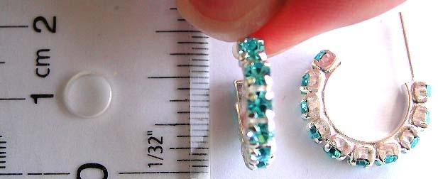 Earring costume jewelry supplier wholesale blue cz stone C shape pattern design sterling silver earr