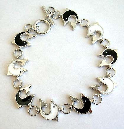 Multi enamel black and white color dolphin pattern forming fashion bracelet, with toggle jewelry cla