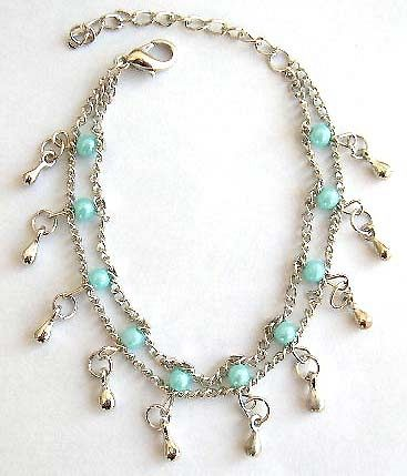 Double chain design fashion bracelet with multi green beads and mini water-drop shape silvery beads
