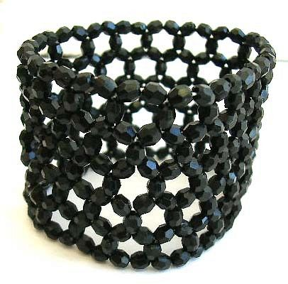Multi black facet beads forming fashion wide band stretchy bracelet