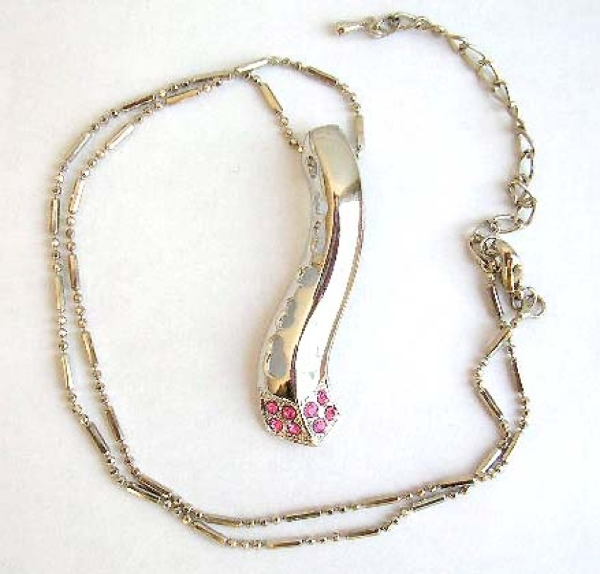 Fashion necklace with beaded chain holding a multi mini pinkish cz bottom