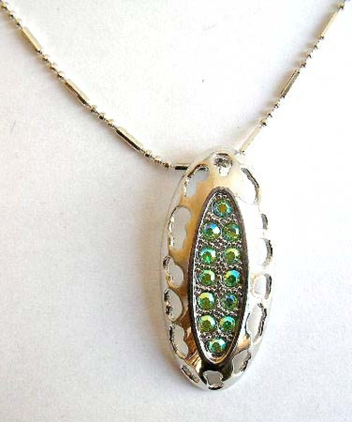 Fashion necklace with beaded chain holding a multi mini shiny beads inlaid long elliptical metal pen