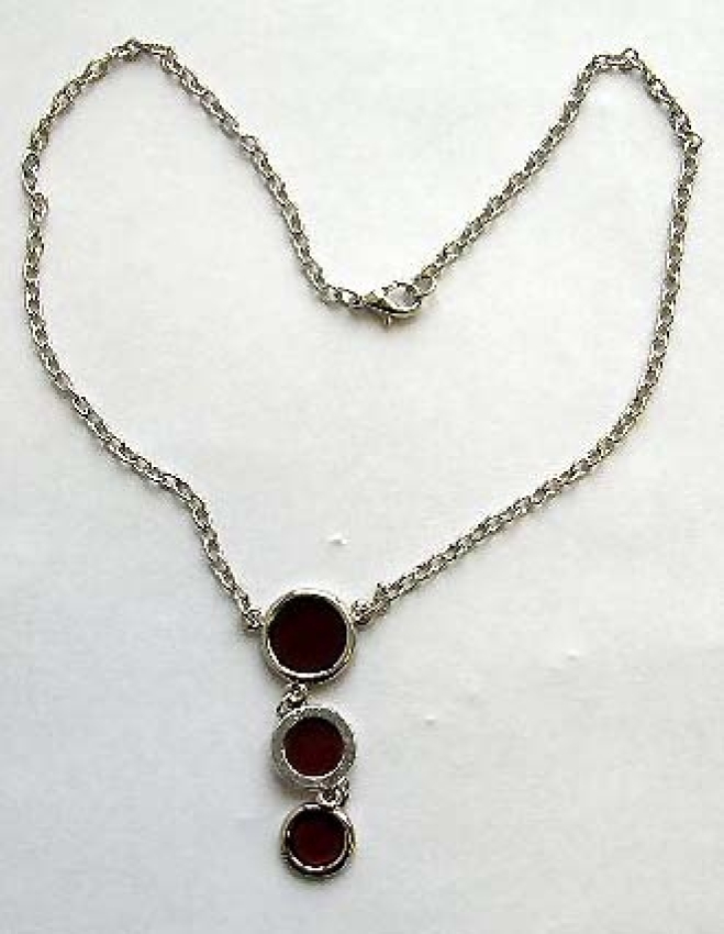 Fashion chain necklace with chain-in triple reddish circle pendant at center