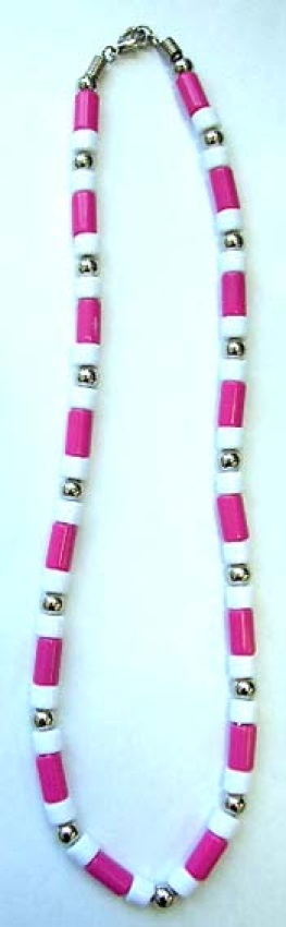 choker necklace wholesaler wholesale fashion necklace chokers with pink, white beads and pearl silve