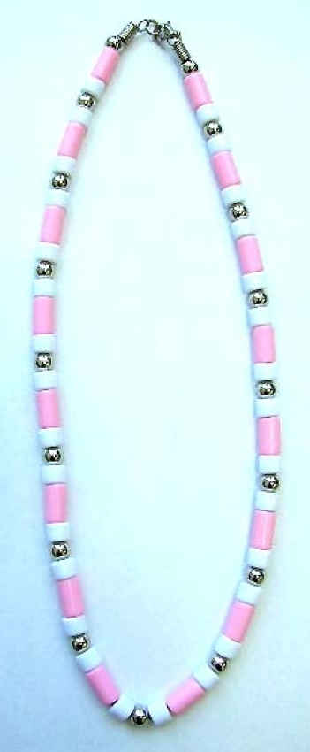 sell costume jewelry - silver bead and multi light pink tube bead, white bead forming fashion neckla