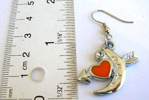 Fashion fish hook earring with moon, heart and arrow decor