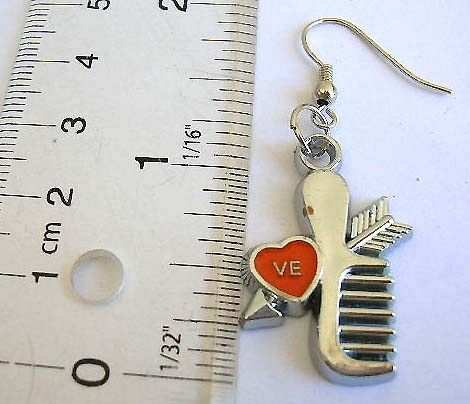 Fashion jewellery wholesale Fashion fish hook earring with comb arrow and heart pattern