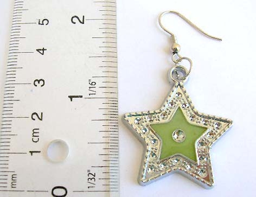 Discount fashion jewelry wholesale Fish hook earring with enamel assorted color star pattern and imi