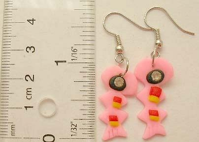 Canadian discount wholeale supplier wholesale Fish hook earring with foaming fish pattern design in