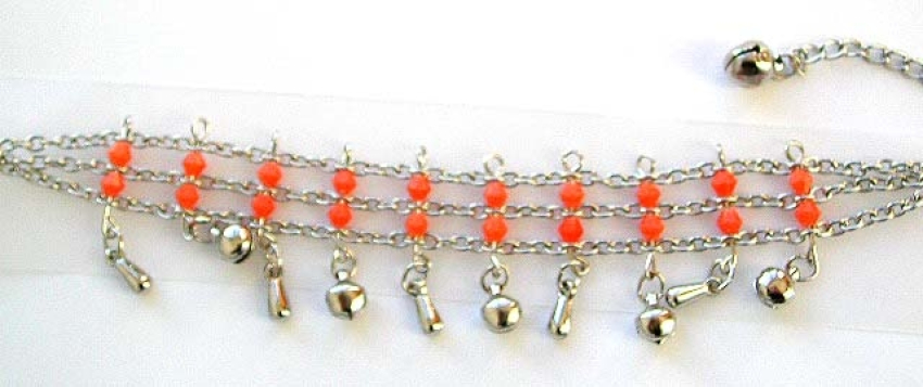 Orange beaded 3 chains connected fashion bracelet with multi mini bells attached on bottom