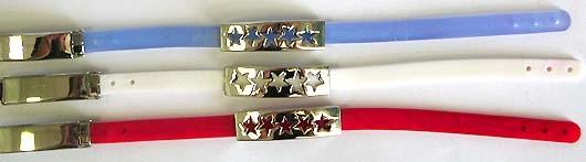 Slide bracelet - Assorted color fashion rubber bracelet with 5 carved-out star slide charm