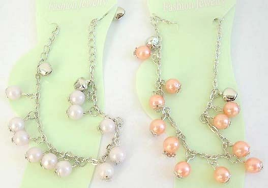 Canada find jewelry wholesaler supply Fashion anklet design with assorted color pearl imitation and