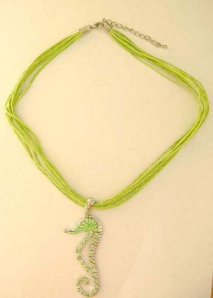 Fashion jewelry trends wholesale Light green cz seahorse pendant with multi strings design in fashio