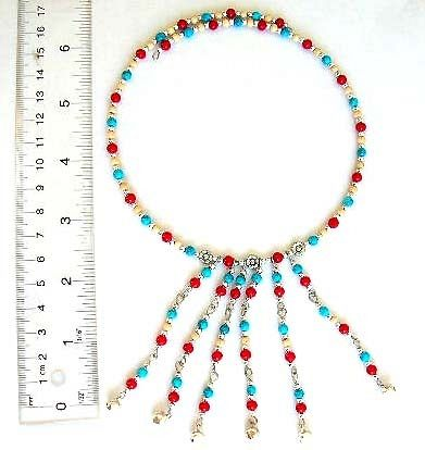 Discount fashion bead jewelry supply Fashion necklace with turquoise and agent beads, 6 dangles desi