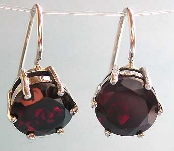 2005 trendy jewelry wholesale, rounded red garnet stone inalid sterling silver hook earring